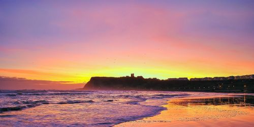 Surfing Framed Canvas Wall Art  - Sun Rise Over the Headland